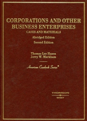 Corporations And Other Business Enterprises, Cases And Materials