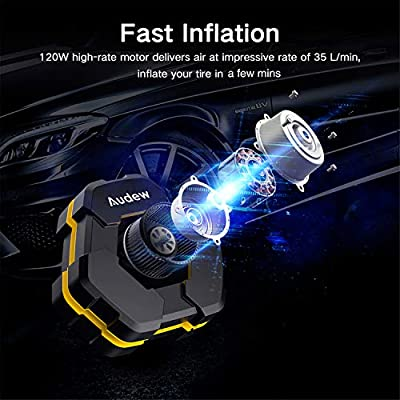 Audew Portable Air Compressor Tire Inflator with Gauge, Auto Digital Air Pump for Car Tires with Extra LED Light, DC 12V 150 PSI Tire Pump for Car,Bicycle,Motorcycle,Basketball,Pool Toys: Automotive