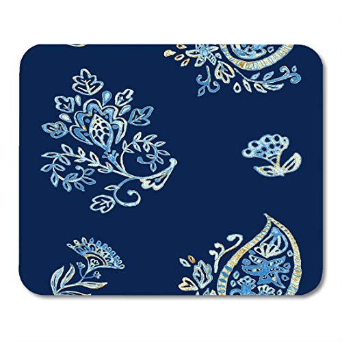(Emvency Mouse Pads Watercolor Navy Blue Paisley Beige Flores Elegant Pattern for Ceramic Porcelain Indian Asian Tradition Mouse pad 9.5