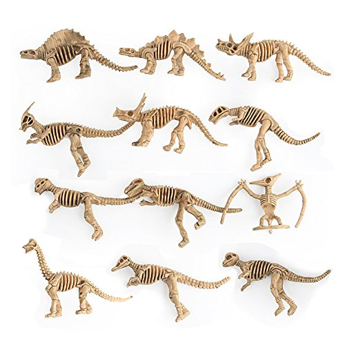 Ytzada 12 Pieces Dinosaur Fossil Skeleton Figure Toys, Assorted Educational Dinosaur Bones Playset Birthday Gift Boys Kids Toddlers by Ytzada