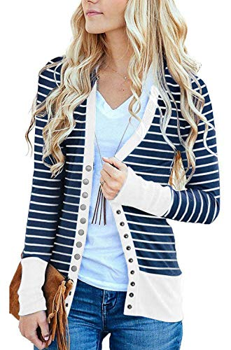 (RichCoco Women's Striped Snap Button Down Open Front Long Sleeve Contrast Color Casual Cardigans Sweaters (White, XXL))
