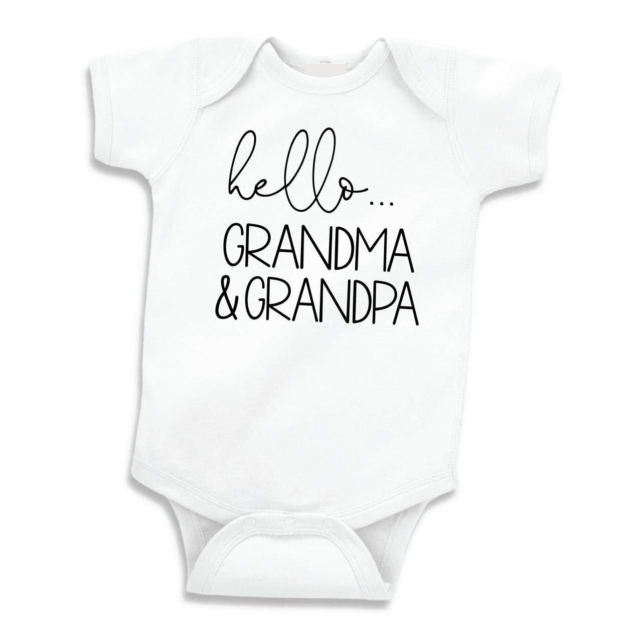 f0bec053c3735 Amazon.com  Hello Grandma and Grandpa Baby Announcement Gift Grandparents   Clothing