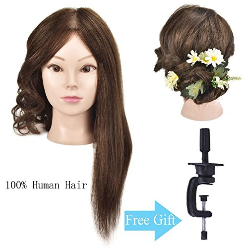 "Beauty : Mannequin Head 18"" 100% Human Hair Cosmetology Hairdresser Training Head Manikin Doll Head with Free Clamp"