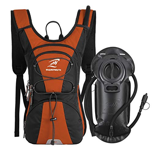 SHARKMOUTH FLYHIKER Hiking Hydration Backpack Pack with 2.5L BPA Free Water Bladder, Lightweight and Comfortable for Short Day Hikes, Day Trips and Trails, DarkOrange ()