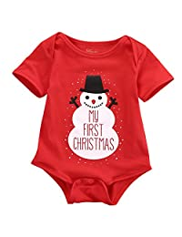 Newborn Baby Kids Snowmen My First Christmas Bodysuit Jumpsuit Outfits Set 0-18M