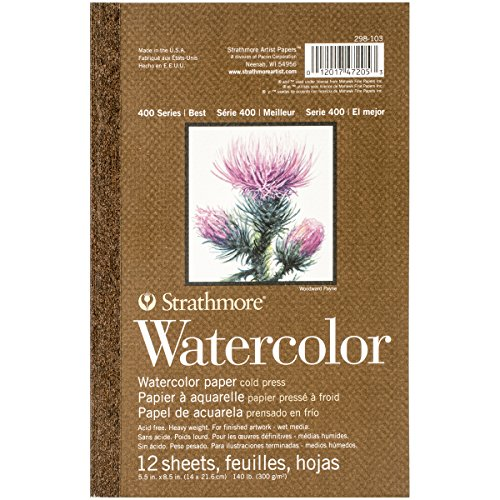 Strathmore 298-103 400 Series Watercolor Pad, 5.5x8.5 Tape Bound, 12 Sheets