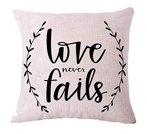 (ZYCH Love Never Fails Cartoon Smiling Bunny and Egg Gift Cotton Linen Square Throw Pillow Case Cushion Cover 18 x 18 Throw Pillow Covers (3) )
