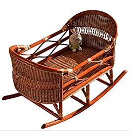 Rattan Baby Crib Nursery Baby Bed Infant Toddler Cradle Rocking Cradle for Newborn