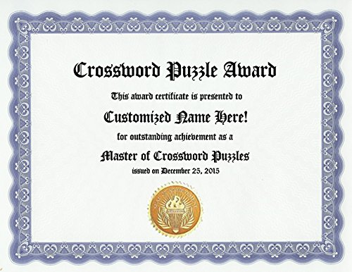 - Crossword Puzzle Award: Personalized Custom Crosswords Award Certificate (Funny Customized Present Joke Gift - Unique Novelty Item)