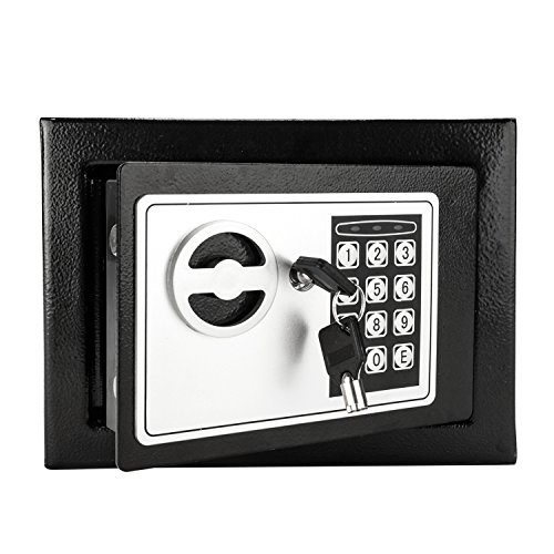 Safe and Lock Box Money Box Password Steel Plate Safe Box 17E Home Use Digital Electronic with Keypad Black