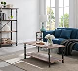 Reclaimed Oak/Metal Frame 2-tier Industrial Style Rectangular Coffee Table with Lower Shelf