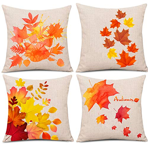 Whaline 4 Pieces Autumn Pillow Case, Fall Maple Leaves Pillow Cover, Thanksgiving Cotton Linen Sofa Bed Throw Cushion Cover Decoration (18