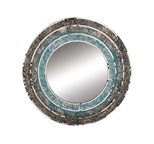 Deco 79 67971 Mosaic Wooden Wall Mirror, Silver/Green