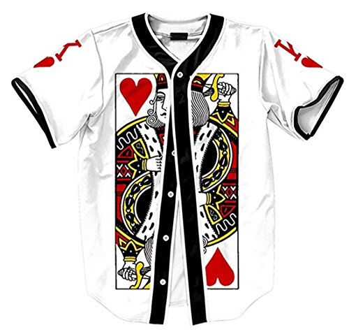 Short Sleeve Arc Bottom 3D King of Heart Print Baseball Jersey Shirt (Heart Jersey Baseball)