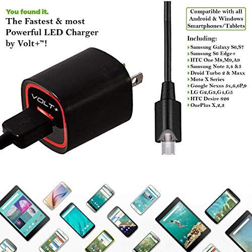 Volt Plus Tech Bright LED Rapid 2.1A Wall Charger Works for ONN 10.1 inch with Extra USB Port and 5Ft Micro-USB Cable Touch Activated LED Light!
