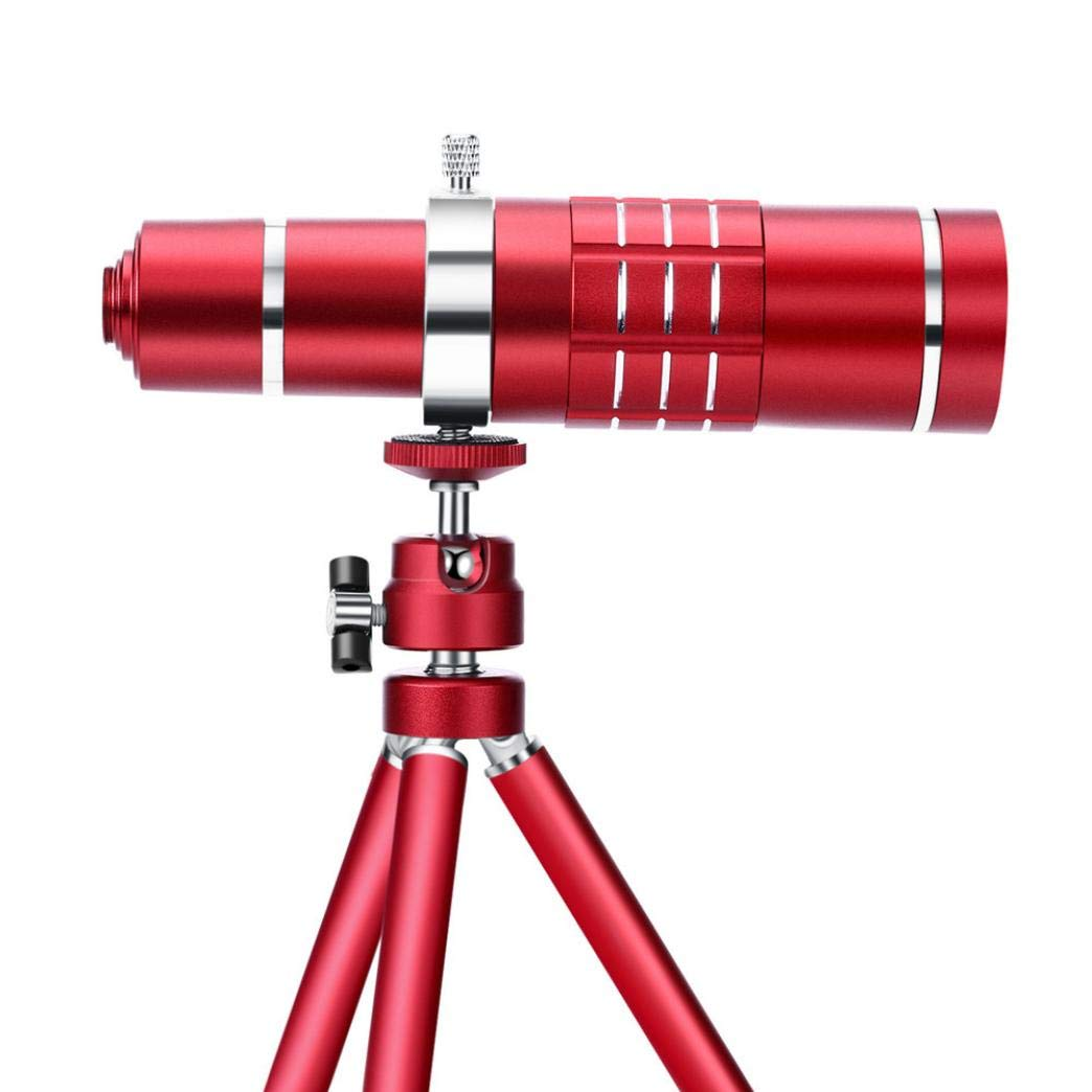 Sonmer HD 18x Optical Zoom Smartphone Camera Aluminum Alloy Telescope, With Clip Tripod (Red)