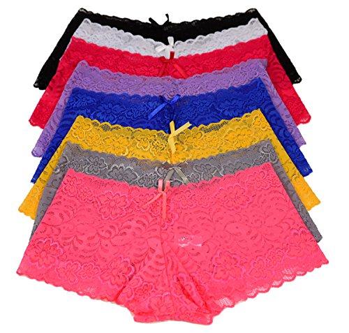 Visions 12 Pack Floral Lace Boy Shorts Panties Regular /& Plus Size G896