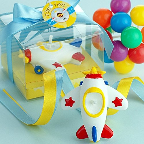 Mini Aeroplane Toy Candle Baby Birthday Cake Topper with Greeting Card in Gift Box Children's Day favor from Sweet Homes & Gardens