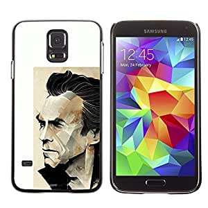 GOODTHINGS ( NO PARA S5 Mini ) Funda Imagen Diseño Carcasa Tapa Trasera Negro Cover Skin Case para Samsung Galaxy S5 SM-G900 - Arnold héroe de acción cartel blanco el actor