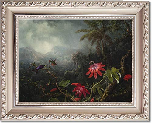 Ori Gallery Framed Canvas Print - Passion Flowers with Three Hummingbirds - by Martin Johnson Heade ()