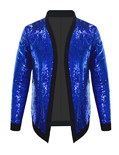 Pacinoble Men's Cardigan Shawl Beaded Sequin Decor Long Sleeve Evening Cape Bolero Flapper Cover up Jacket (Blue M)]()