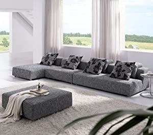TOSH Furniture Modern Zebrano Fabric Sectional Sofa : tosh furniture sectional - Sectionals, Sofas & Couches