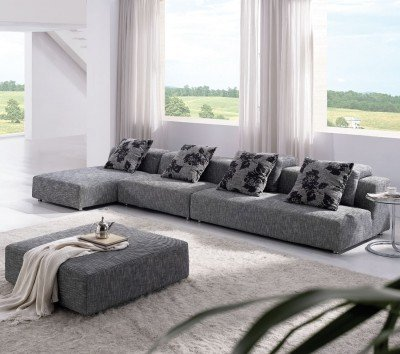 Amazon.com: TOSH Furniture Modern Zebrano Fabric Sectional Sofa ...