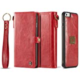 iPhone 6S Plus Magnetic Detachable Case, XRPow Wrist Strap Slim Cover Leather Folio Wallet Holder Case for Apple iPhone 6/6s Plus 5.5inch RED