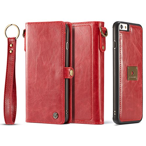 iPhone 6S Plus Magnetic Detachable Case, XRPow Wrist Strap Slim Cover Leather Folio Wallet Holder Case for Apple iPhone 6Plus/ 6s Plus 5.5inch RED
