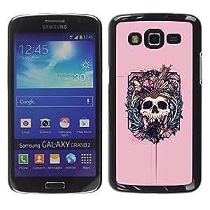 Ihec Tech Pink Skull Colmillos Muerte Huesos floral / Funda Case back Cover guard / for Samsung Galaxy Grand 2