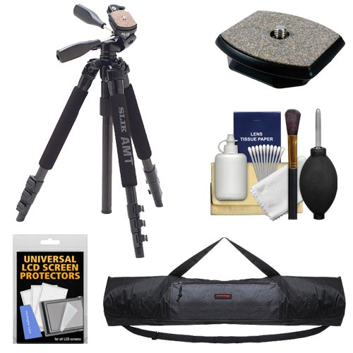 Slik 340 DX Pro Series Black Tripod 3Way Pan/Tilt Head & Quick Release with QR Plate + Tripod Case + Accessory Kit
