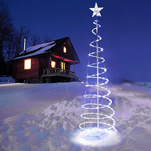 Outdoor Lighted Spiral Trees - 8