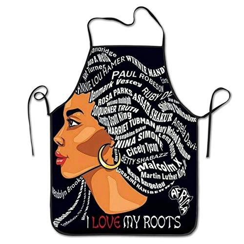 NiYoung Afro Lady African American Black Women Girls Art Aprons - Multipurpose for Cooking Grill Baking Protective Apron - Durable and Novelty - Ideal for Painter Chef Gardener