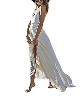 Boho Wedding Dress Casual Lace Chiffon Beach Wedding Dresses for Bride 2017