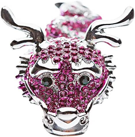 Dragon Fuchsia Pink Clear Crystals Silver Animal Stretch Adjustable Fashion Ring
