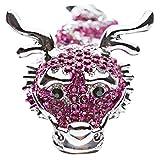 Dragon Fuchsia Pink Clear Crystals Silver Animal Stretch Adjustable Fashion Ring