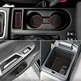 Subaru WRX Custom Doors - Auovo Anti Dust Door Mats for Subaru WRX 2019 2020 2018 2017 2016 2015 Interior Accessories Custom Fit Door Compartment Cup Center Console Liners(13pcs/Set) (Red)