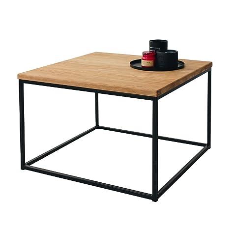 Tisch 60x60 Schwarz.1 Original Bestloft Couchtisch Boston Mini Beistelltisch Industriedesign Loft 54 X 54 Cm Eiche Hell Natur Gestell Schwarz