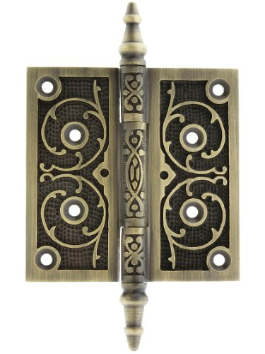 le Tip Hinge With Decorative Vine Pattern In Antique Brass Finish (Antique Brass Finish Steeple)