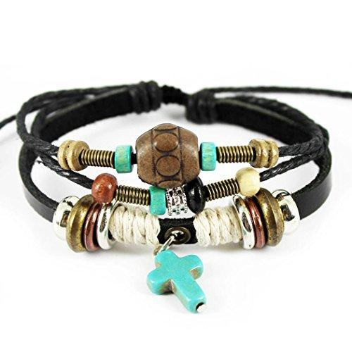 Time Pawnshop Retro Cross Pendant Wood Beads Multilayer Adjustable Unisex Bracelet (Tin Man Nose)