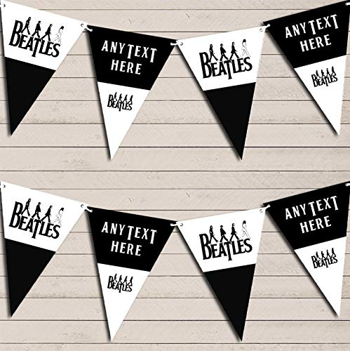 The Beatles Black & White Birthday Bunting Garland Party Venue Decoration Party Flag Banner Garland by The Card Zoo