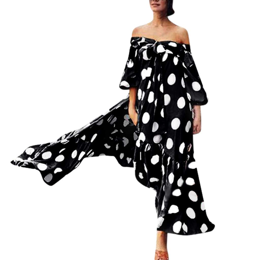 Polka Dot Print Dress for Women  Plus Size Loose Flowy Off Shoulder Lace-up Bow Ruffle Long Dresses by Clearance Dacawin-Dress