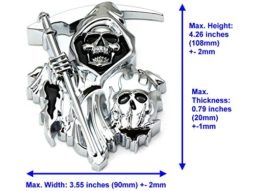 Chrome Skull 3M Sticker 3D CUSTOM CHROME REAPER Skull EMBLEM BADGE STICKER DECAL