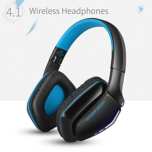 KOTION EACH B3506 V4.1 Bluetooth Headphones with Microphone,Noise Isolation Foldable Gaming Headset with Mic,Wired Headphones for PS4,Wireless Headsets for PC Mac Smartphones Computers Laptops (Blue) For Sale