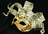 Italian Made Venetian Jester Mask with Music Notes and Bells (Gold/White)