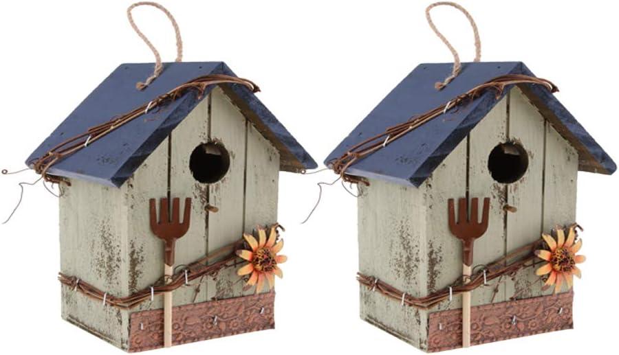 B Blesiya Casa Decorativa para Pájaros De 2 Piezas con Flor, Cordón De Yute, Mariquita, Decoración Colgante De Jardín