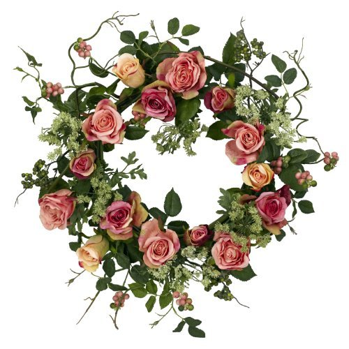 Nearly Natural 4802 Rose Wreath, 20-Inch, Peach by Nearly Natural