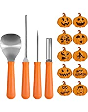 Pumpkin Carving Kit, Jiasoval Halloween Pumpkin Carving Tools, Professional Pumpkin Decorating Kits, Stainless Steel Carving Knife Tools Set for Halloween Decoration Jack-O-Lanterns (4Pieces, Yellow)