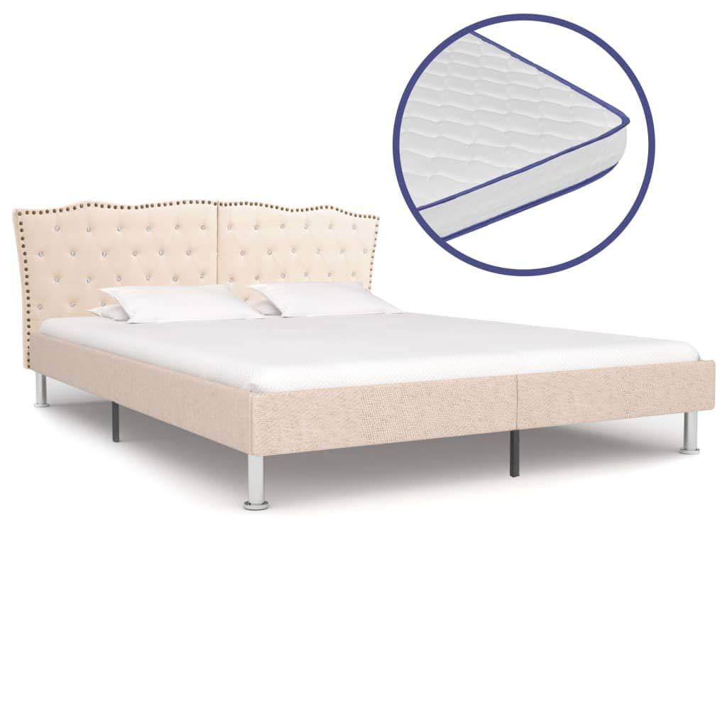Festnight Bett mit Memory-Schaum-Matratze Beige Stoff 180×200 cm, Holz-Rahmen + Stahl-Beine