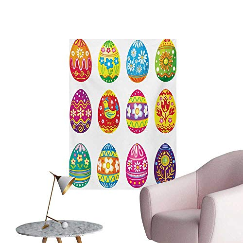 Anzhutwelve Easter Photographic Wallpaper Colorful Easter Eggs with Flowers Stripes and Hen Design Ornate Cartoon IllustrationMulticolor W32 xL48 Custom Poster